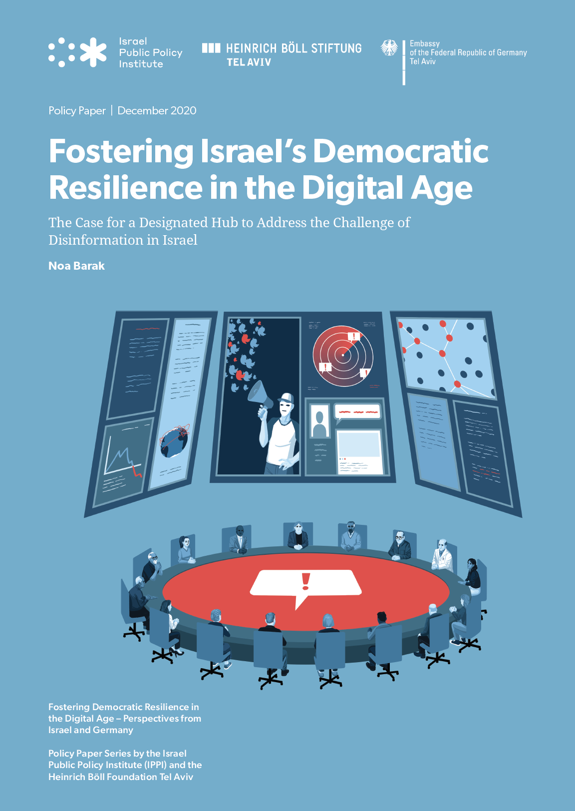 Blue cover page with roundtable discussion among experts deciding how to combat disinformation